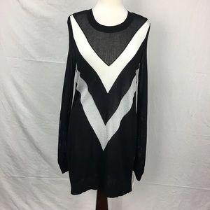 INC International Concepts Black V Pattern Sweater